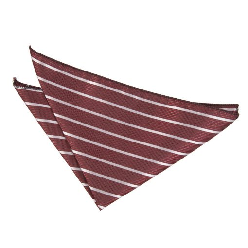 Burgundy & Silver Single Stripe Pocket Square