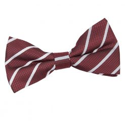 Burgundy & Silver Single Stripe Pre-Tied Thistle Bow Tie