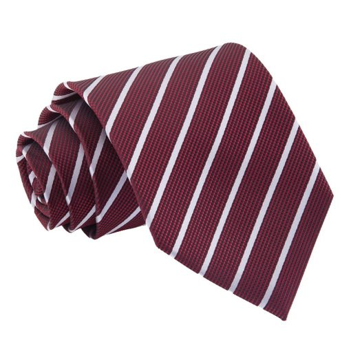Burgundy & Silver Single Stripe Classic Tie