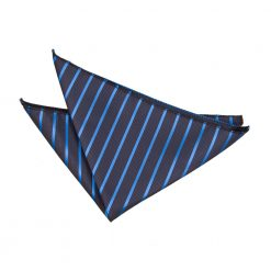 Navy & Mid Blue Single Stripe Pocket Square