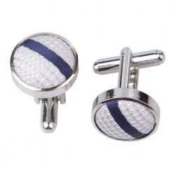 Silver & Navy Blue Single Stripe Silver Plated Cufflinks