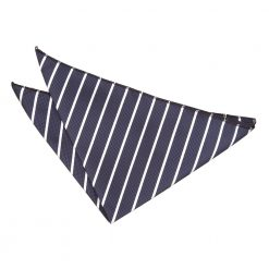 Navy & White Single Stripe Pocket Square