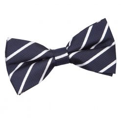 Navy & White Single Stripe Pre-Tied Thistle Bow Tie Tie