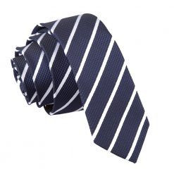 Navy & White Single Stripe Skinny Tie