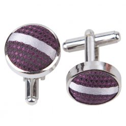 Purple & Silver Single Stripe Silver Plated Cufflinks