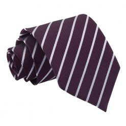 Purple & Silver Single Stripe Classic Tie