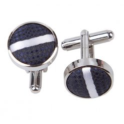 Navy & White Single Stripe Silver Plated Cufflinks