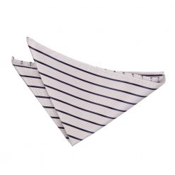 Silver & Navy Blue Single Stripe Pocket Square