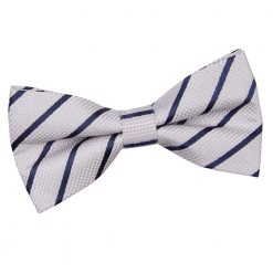 Silver & Navy Blue Single Stripe Pre-Tied Thistle Bow Tie