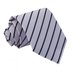 Silver & Navy Blue Single Stripe Classic Tie