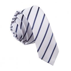 Silver & Navy Blue Single Stripe Skinny Tie