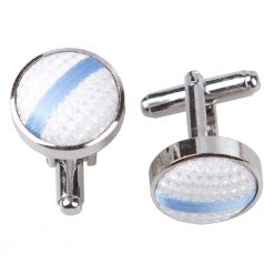 White & Baby Blue Single Stripe Silver Plated Cufflinks