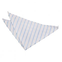 White & Baby Blue Single Stripe Pocket Square