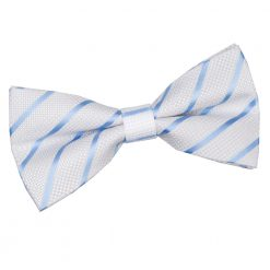 White & Baby Blue Single Stripe Pre-Tied Thistle Bow Tie
