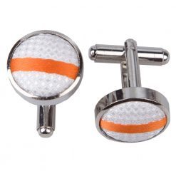 White & Orange Single Stripe Silver Plated Cufflinks