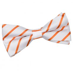 White & Orange Single Stripe Pre-Tied Thistle Bow Tie