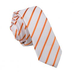 White & Orange Single Stripe Skinny Tie