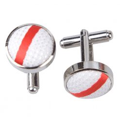 White & Red Single Stripe Silver Plated Cufflinks