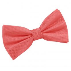Coral Solid Check Pre-Tied Thistle Bow Tie