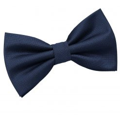 Navy Blue Solid Check Pre-Tied Thistle Bow Tie