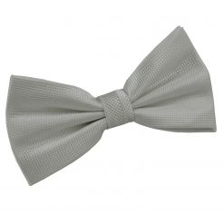 Silver Solid Check Pre-Tied Thistle Bow Tie
