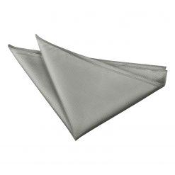 Silver Solid Check Pocket Square