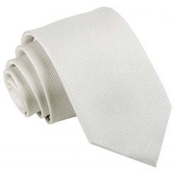 White Solid Check Slim Tie