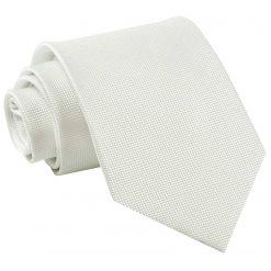 White Solid Check Classic Tie