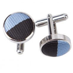 Baby Blue & Black Striped Silver Plated Cufflinks
