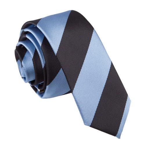 Baby Blue & Black Striped Skinny Tie