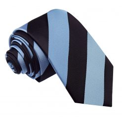 Baby Blue & Black Striped Slim Tie