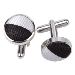 Black & White Striped Silver Plated Cufflinks