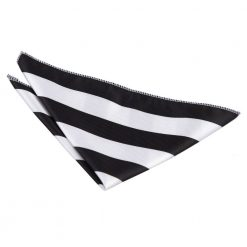 Black & White Striped Pocket Square