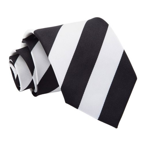 Black & White Striped Classic Tie