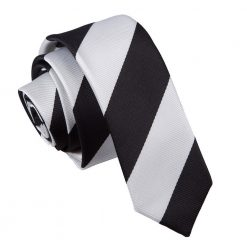 Black & White Striped Skinny Tie