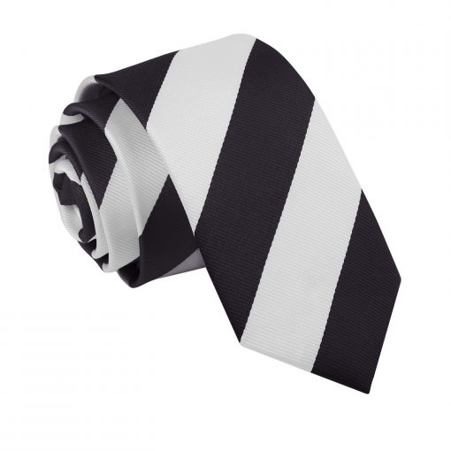 Black & White Striped Slim Tie