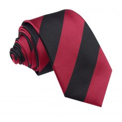 Burgundy & Black Striped Slim Tie