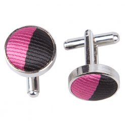 Hot Pink & Black Striped Silver Plated Cufflinks