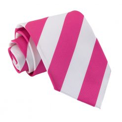 Hot Pink & White Striped Classic Tie