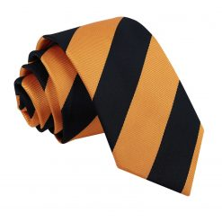 Orange & Black Striped Slim Tie