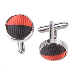 Red & Black Striped Silver Plated Cufflinks