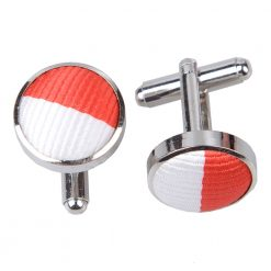 Red & White Striped Silver Plated Cufflinks