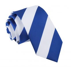 Royal Blue & White Striped Slim Tie