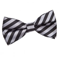 Black & Grey Thin Stripe Pre-Tied Thistle Bow Tie