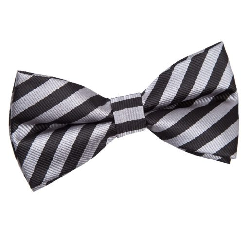 Black & Grey Thin Stripe Pre-Tied Thistle Bow Tie