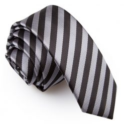 Black & Grey Thin Stripe Skinny Tie
