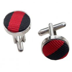 Black & Red Thin Stripe Silver Plated Cufflinks