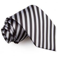 Black & Silver Thin Stripe Classic Tie