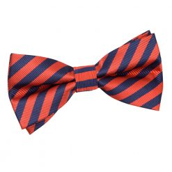Navy Blue & Red Thin Stripe Pre-Tied Thistle Bow Tie