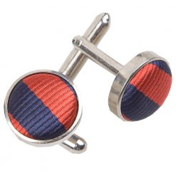 Navy Blue & Red Thin Stripe Silver Plated Cufflinks